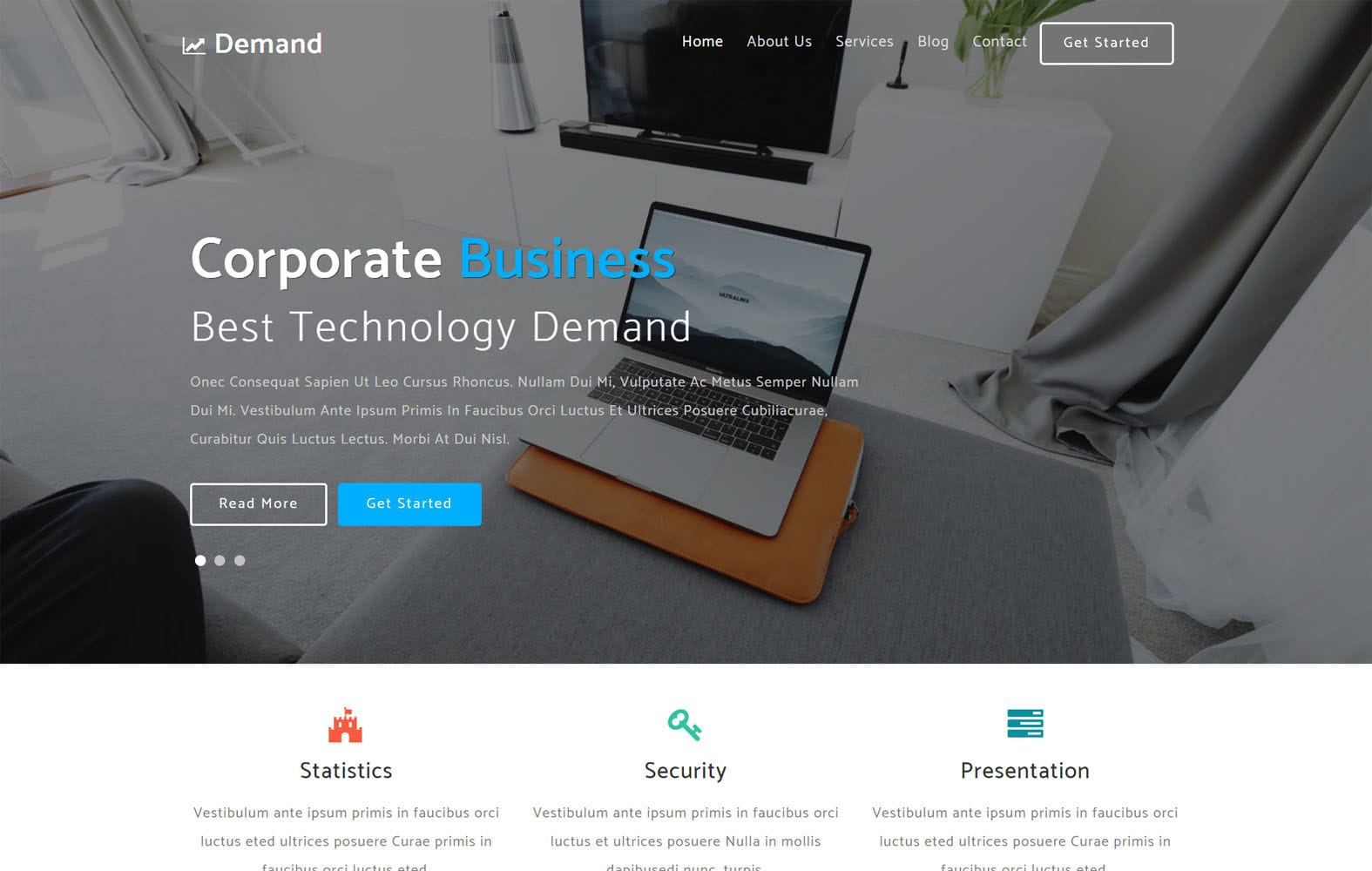 Demand Corporate Category Flat Bootstrap Responsive Website Template Mobile website template Free