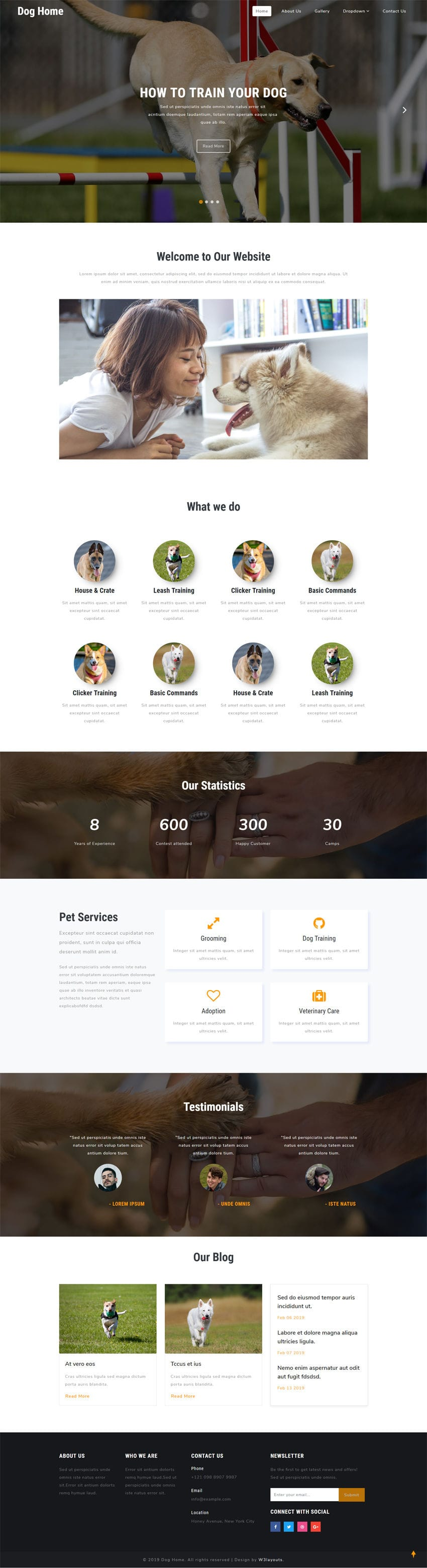 Dog Home is an HTML web template for websites related to animals & pets.