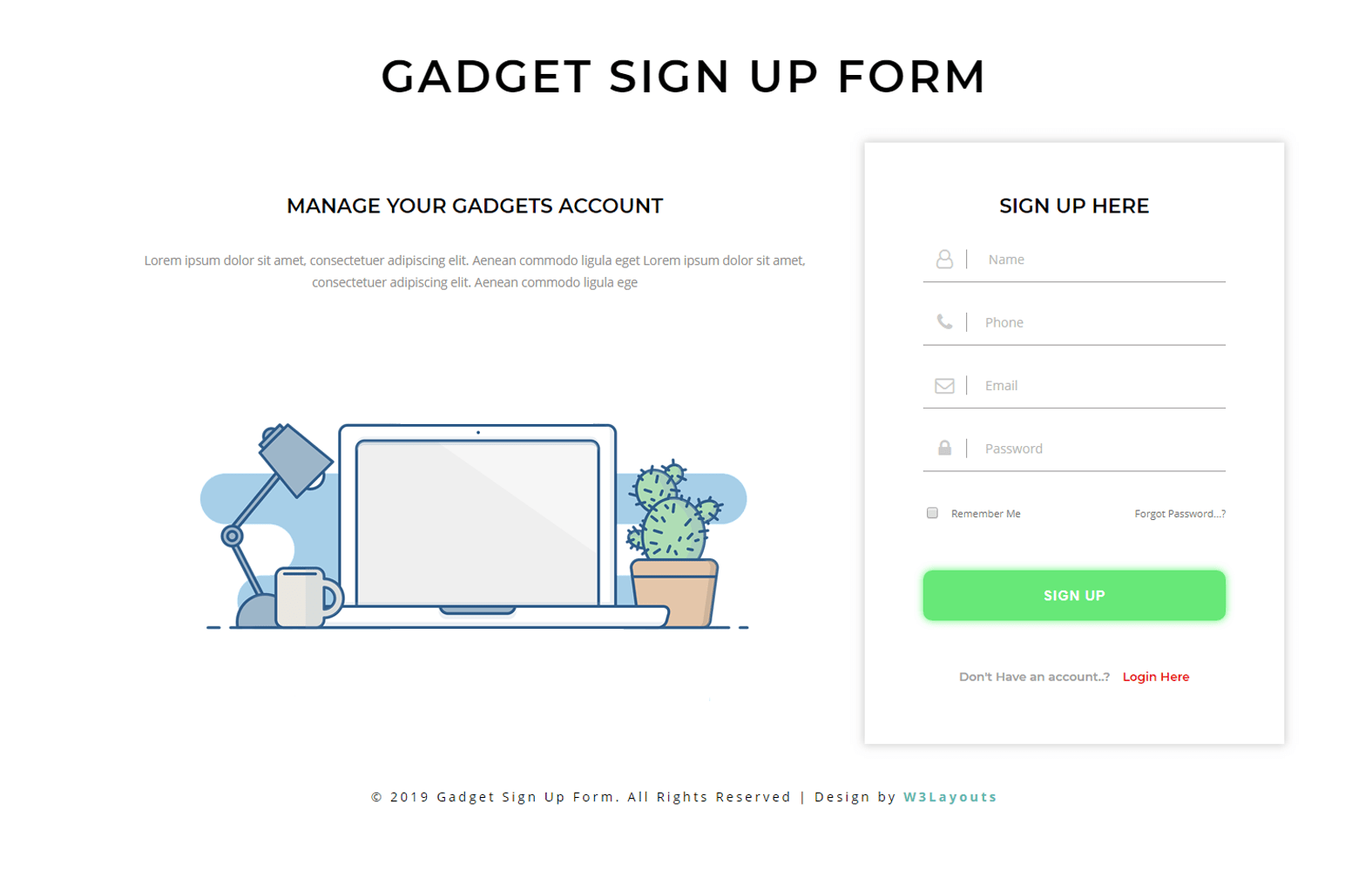 Gadget Sign Up Form a Flat Responsive Widget Template Mobile website template Free
