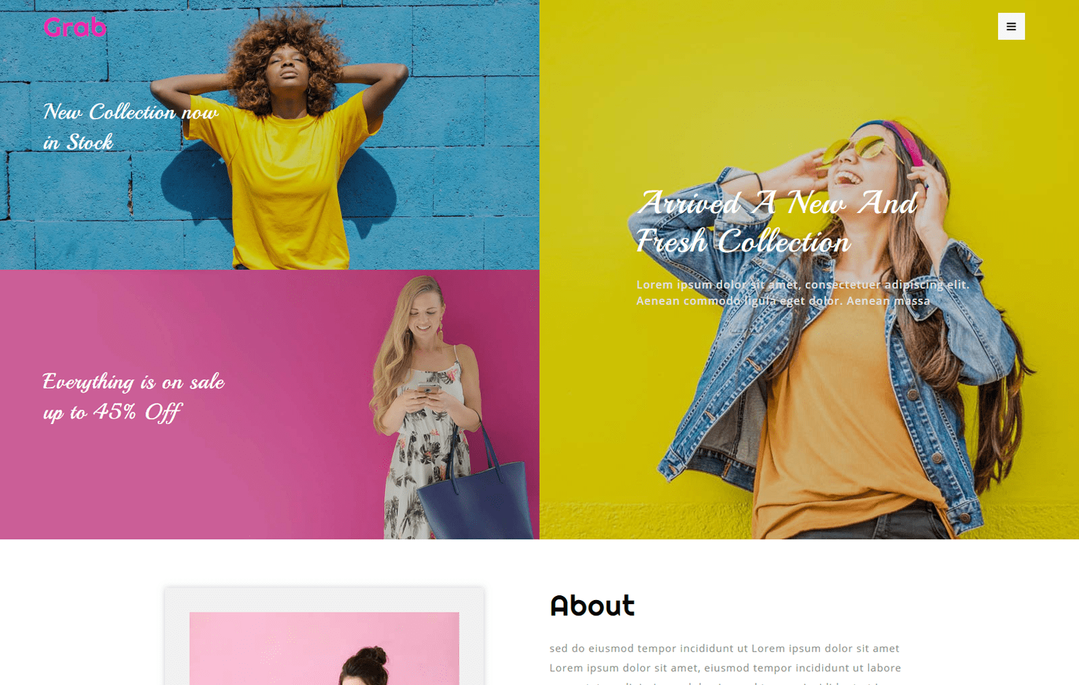 Grab a Fashion Category Bootstrap Responsive Web Template Mobile website template Free