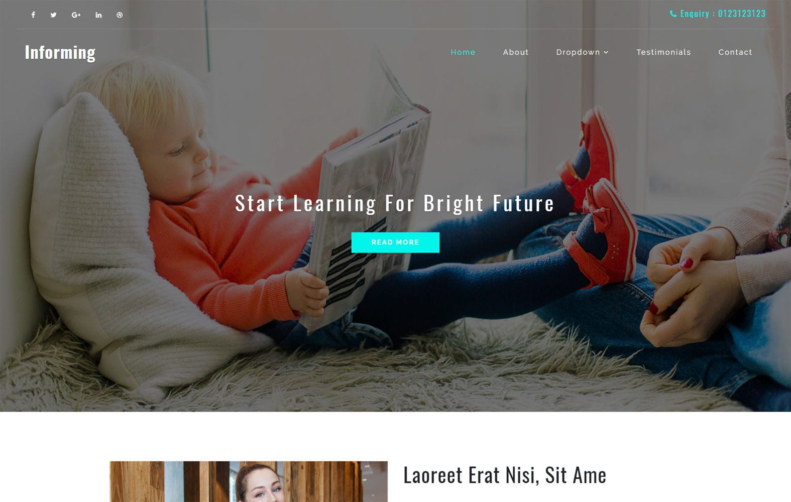 Informing an Education Category Bootstrap Responsive Web Template Mobile website template Free