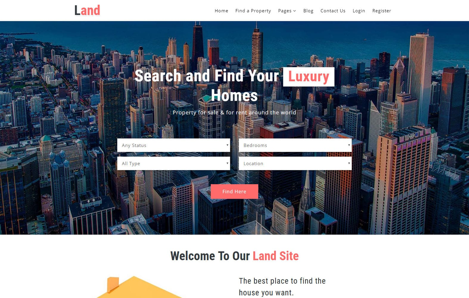 Land a Real Estate Category Bootstrap Responsive Web Template Mobile website template Free