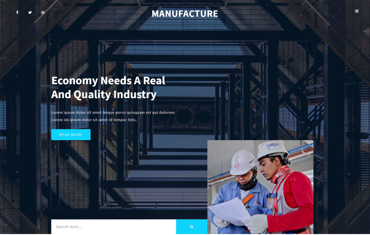 Manufacture Industrial Category Bootstrap Responsive Web Template