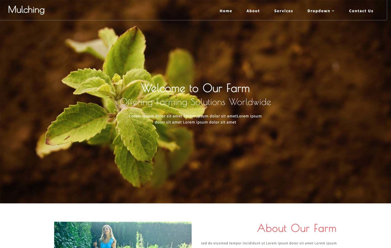 Mulching Agriculture Category Bootstrap Web Template Mobile website template Free