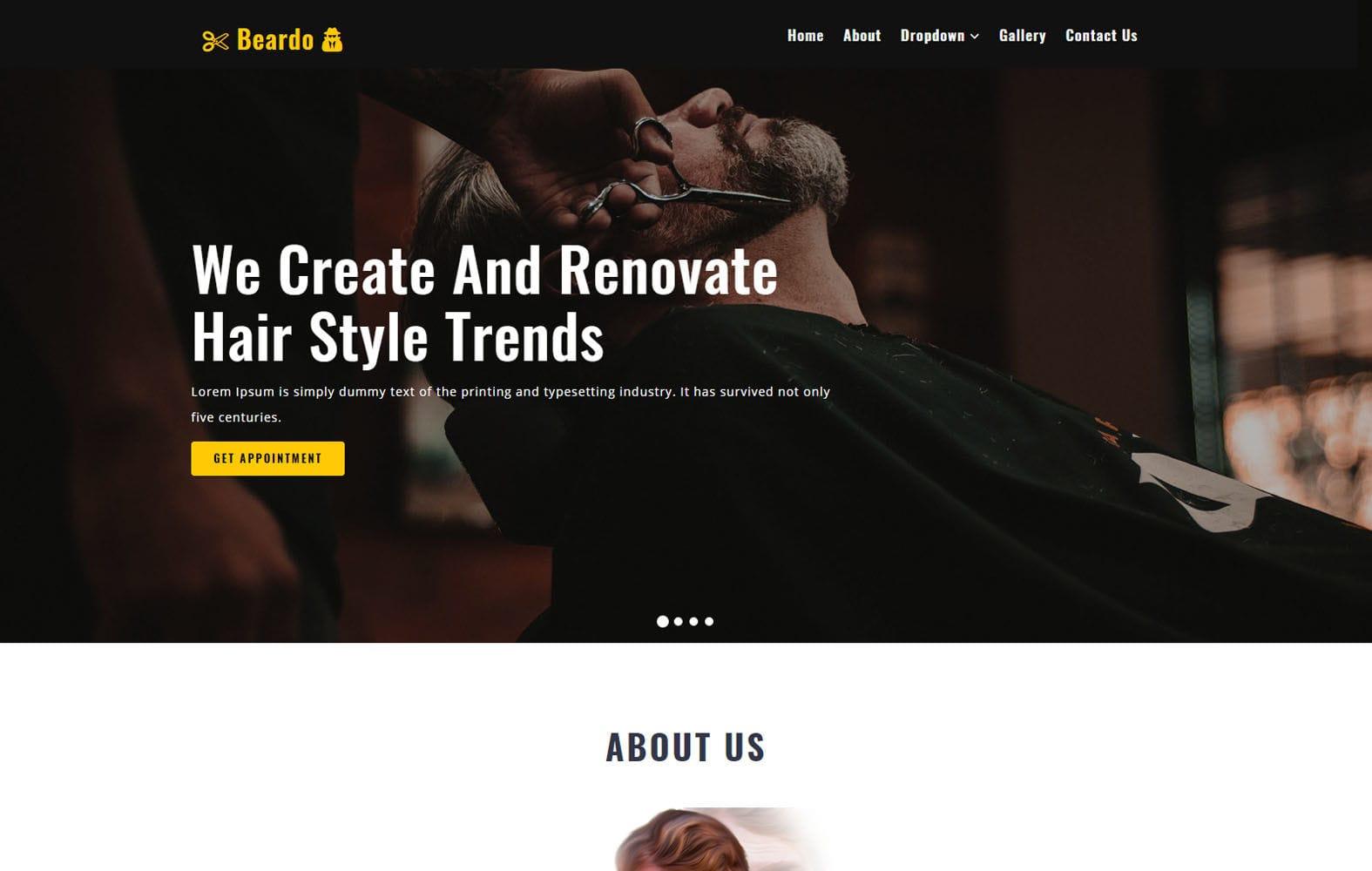 Beardo a Beauty Category Bootstrap Responsive Web Template Mobile website template Free