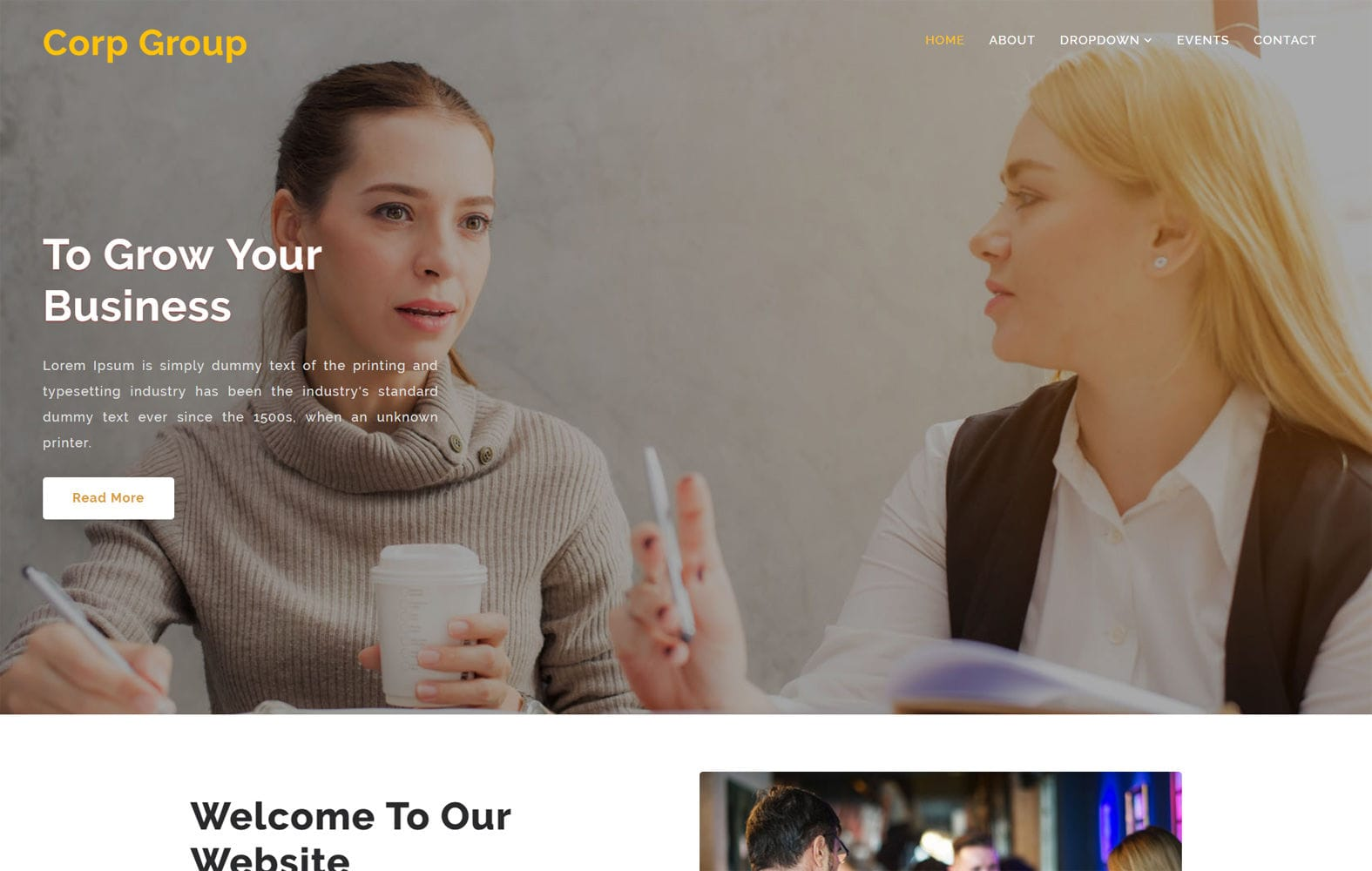 Corp Group – Corporate Category Bootstrap Responsive Website Template Mobile website template Free