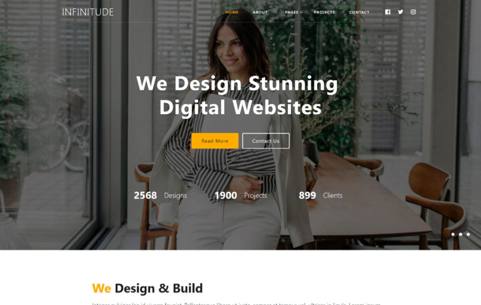 Infinitude – Corporate Category Bootstrap Responsive Website Template Mobile website template Free