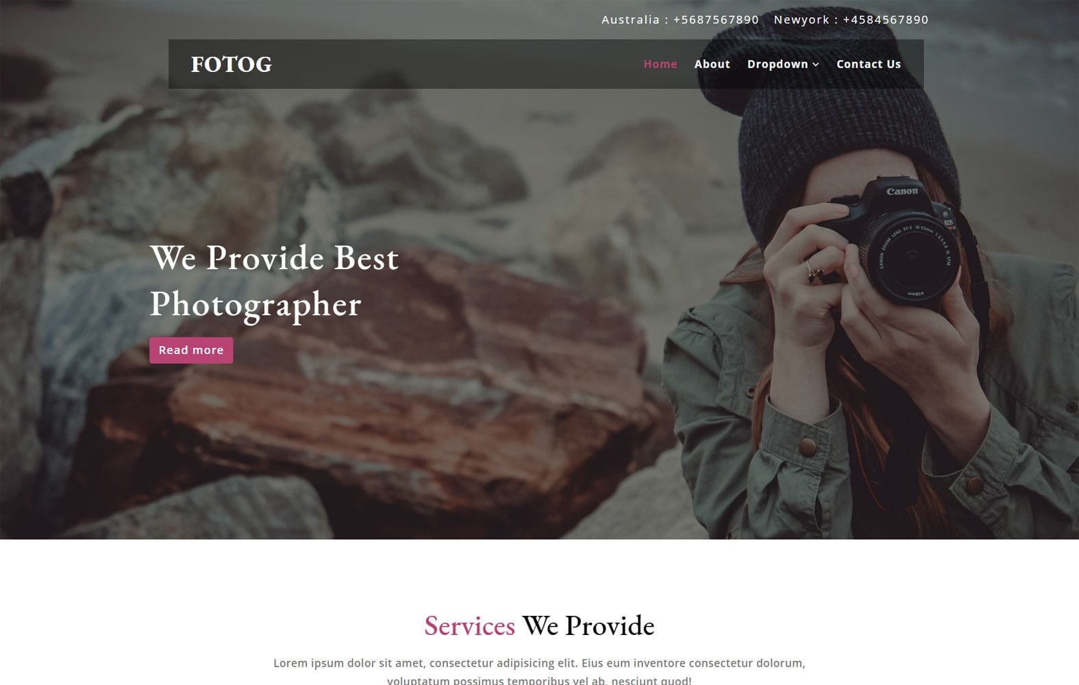 Fotog a Photography Category Bootstrap Responsive Web Template Mobile website template Free