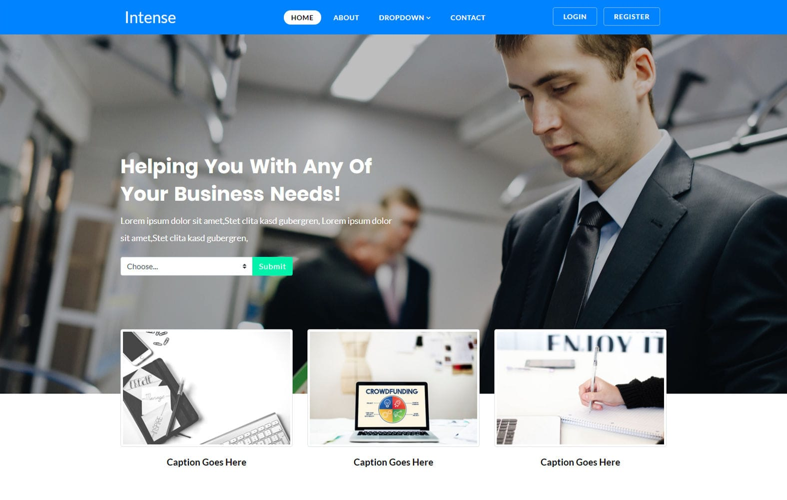 Intense – Corporate Category Flat Bootstrap Responsive Website Template Mobile website template Free