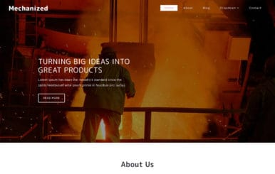 Mechanized an Industrial Category Bootstrap Responsive Web Template