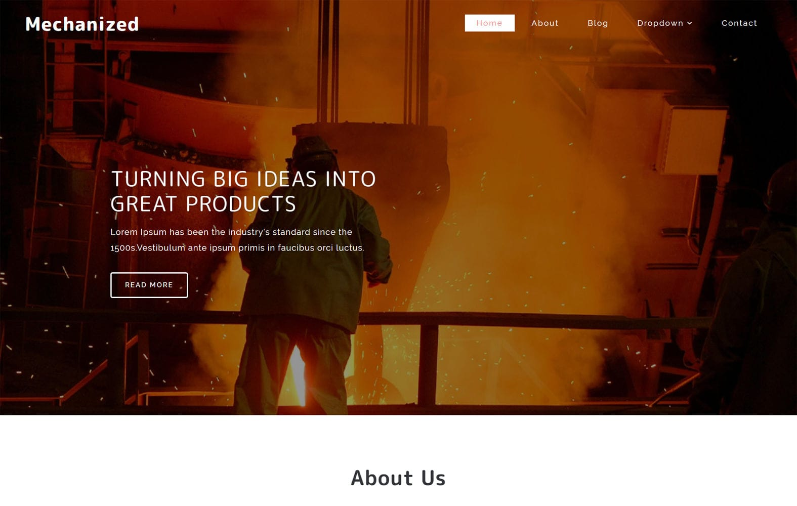 Mechanized an Industrial Category Bootstrap Responsive Web Template Mobile website template Free