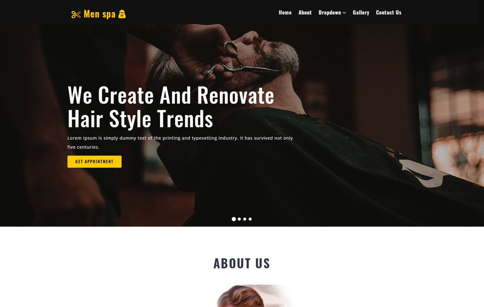 Men Spa – Beauty Category Bootstrap Responsive Web Template Mobile website template Free