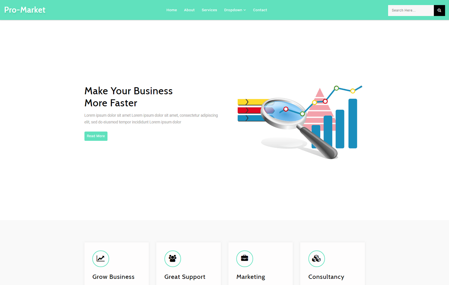 Pro Market – Corporate Category Bootstrap Responsive Web Template Mobile website template Free