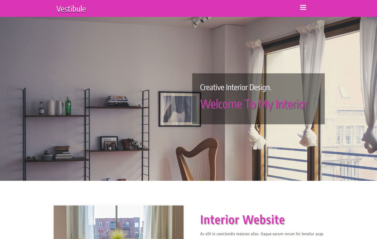 Vestibule an Interior Category Bootstrap Responsive Web Template Mobile website template Free