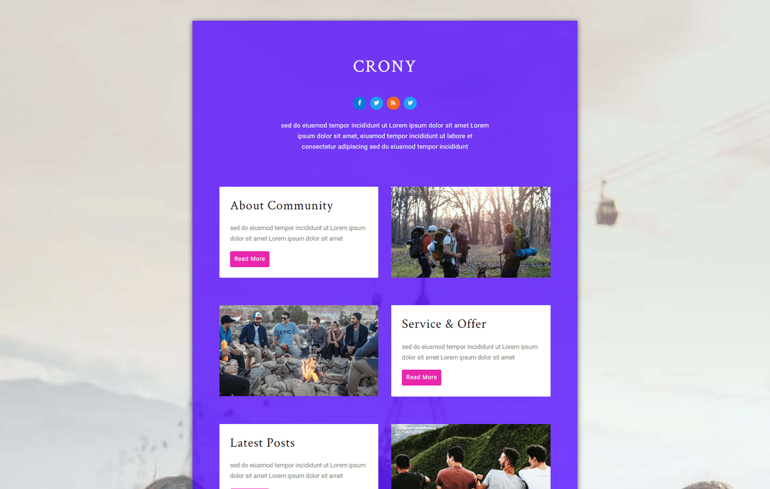 Crony – Community Category Bootstrap Responsive Web Template Mobile website template Free