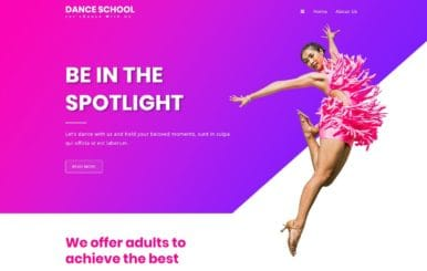 Dance School an Entertainment Category Web Template
