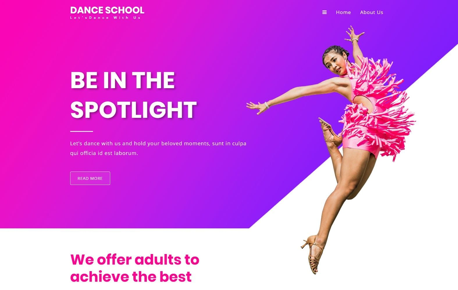 Dance School an Entertainment Category Web Template