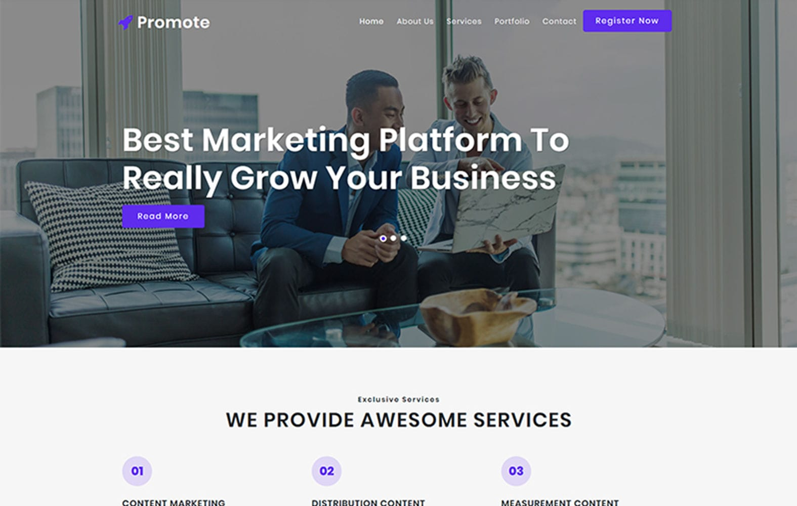 Promote – Business Category Bootstrap Responsive Website Template Mobile website template Free