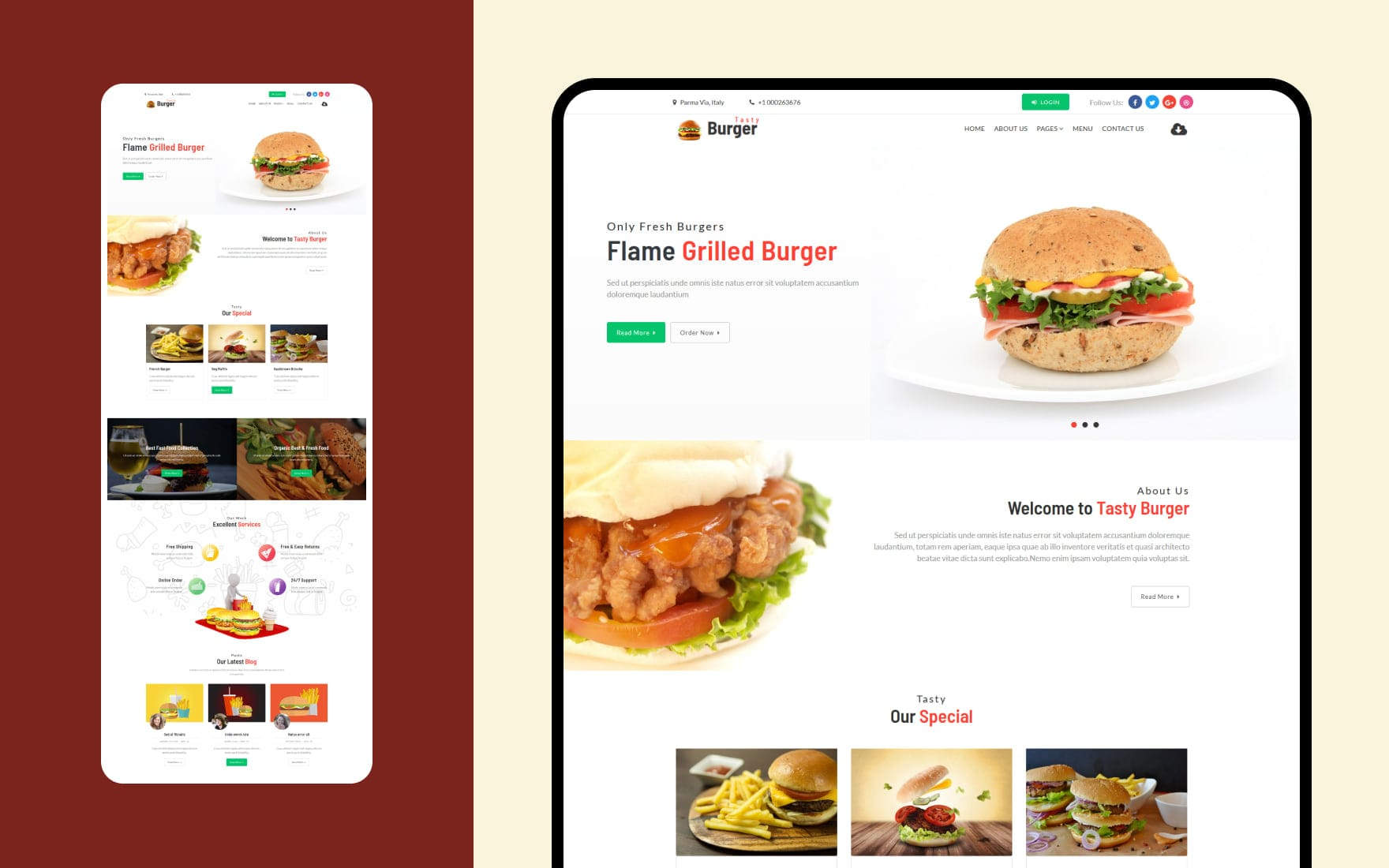 Tasty Burger – Restaurants Category Bootstrap Responsive Web Template