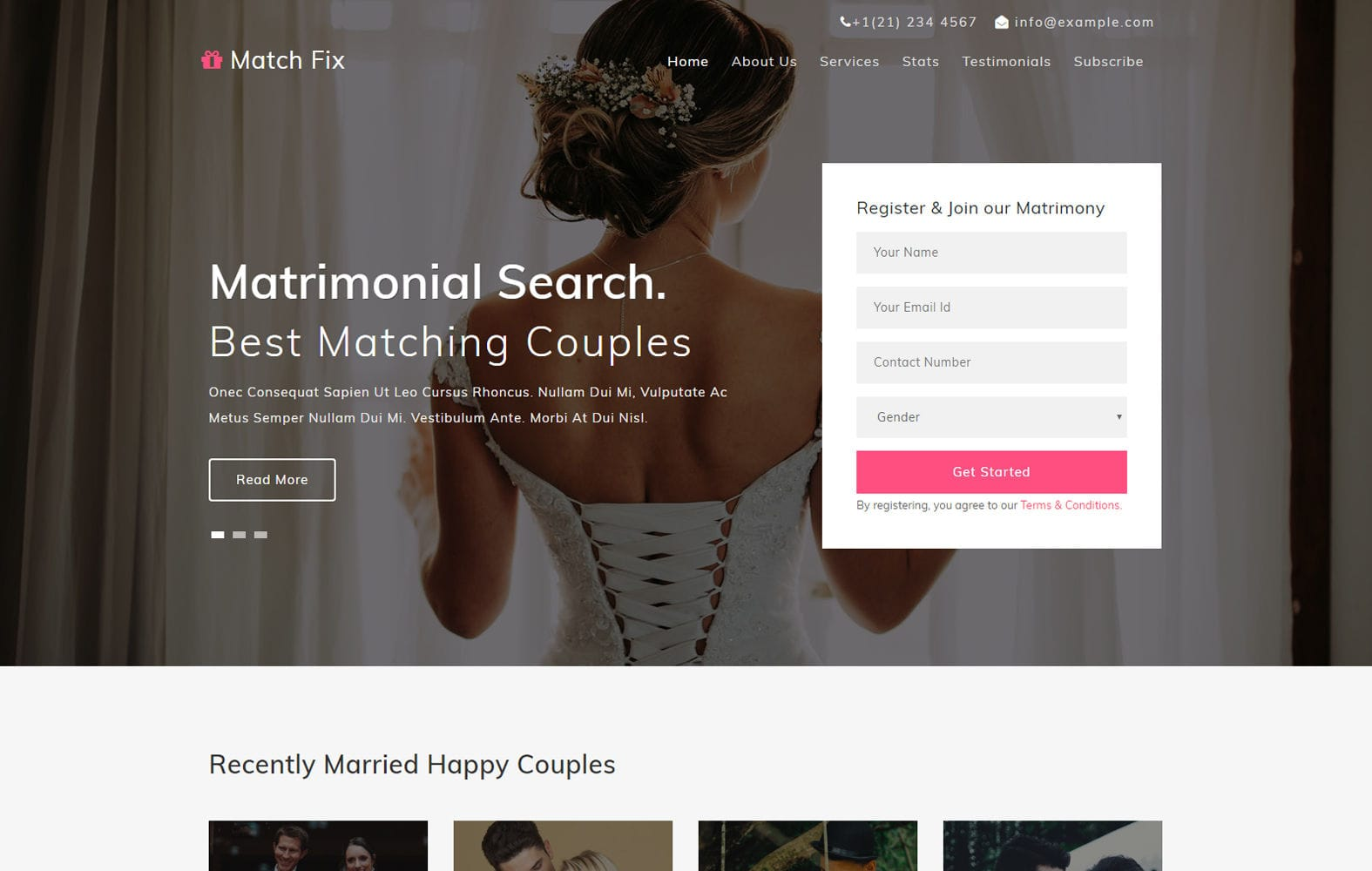Match Fix – Free Responsive Wedding Website Template Mobile website template Free