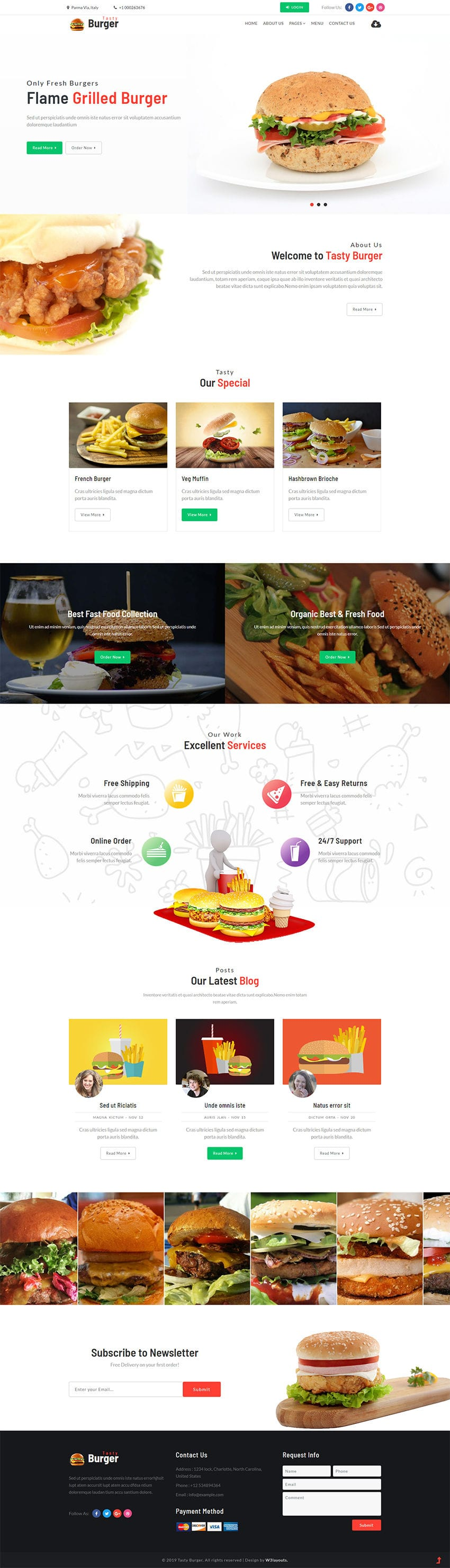 Tasty Burger is a website template built on Bootstrap using HTML suitable for all restaurant and food businesses.