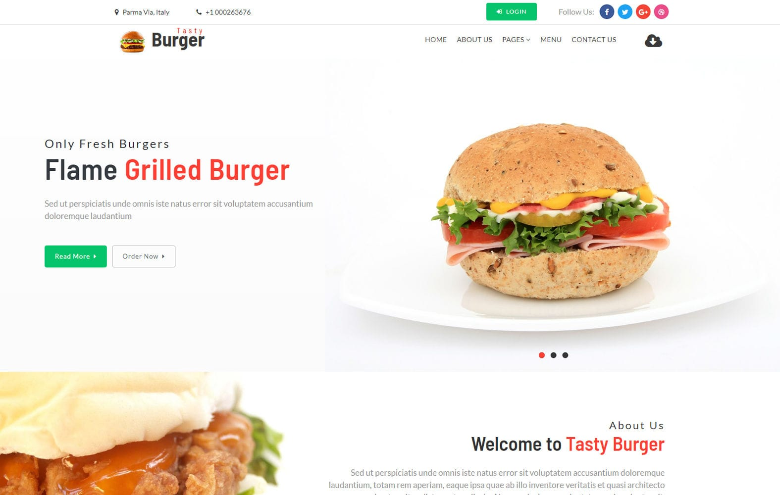Tasty Burger – Restaurants Category Bootstrap Responsive Web Template Mobile website template Free