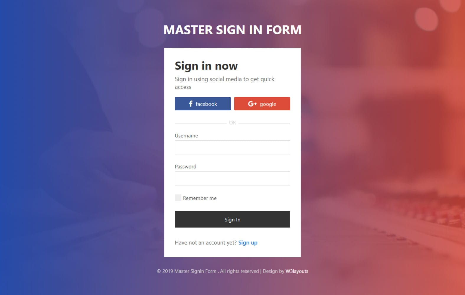 Master Sign in Form – HTML & CSS Widget Template Mobile website template Free