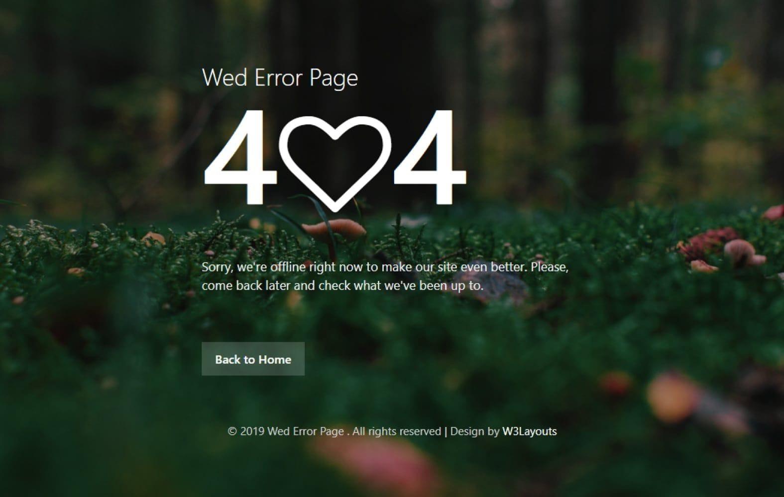 Wed Error Page – Free Responsive Widget Template