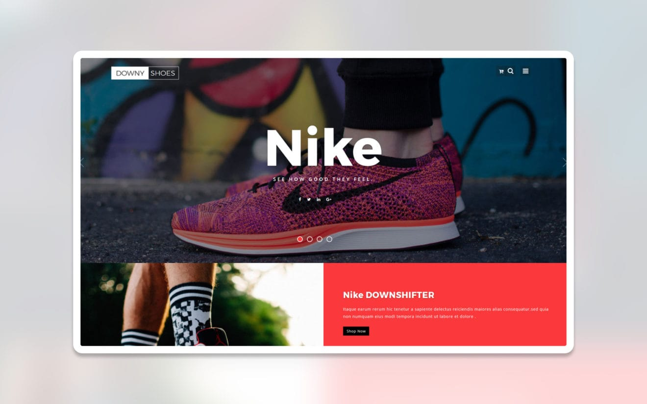 downy shoes ecommerce website template