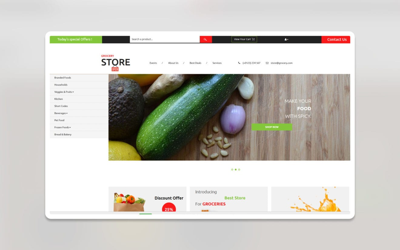 Grocery store ecommerce website template