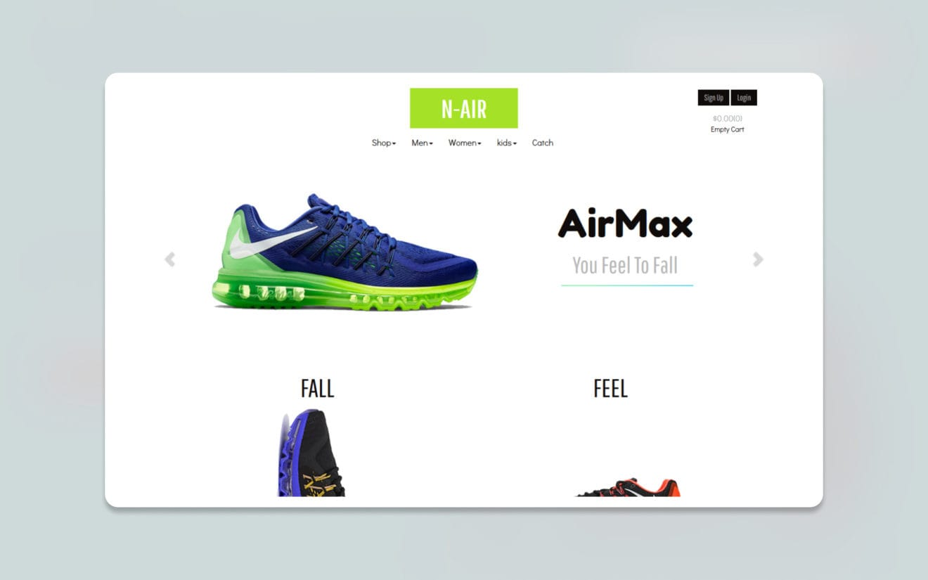 N Air ecommerce website template