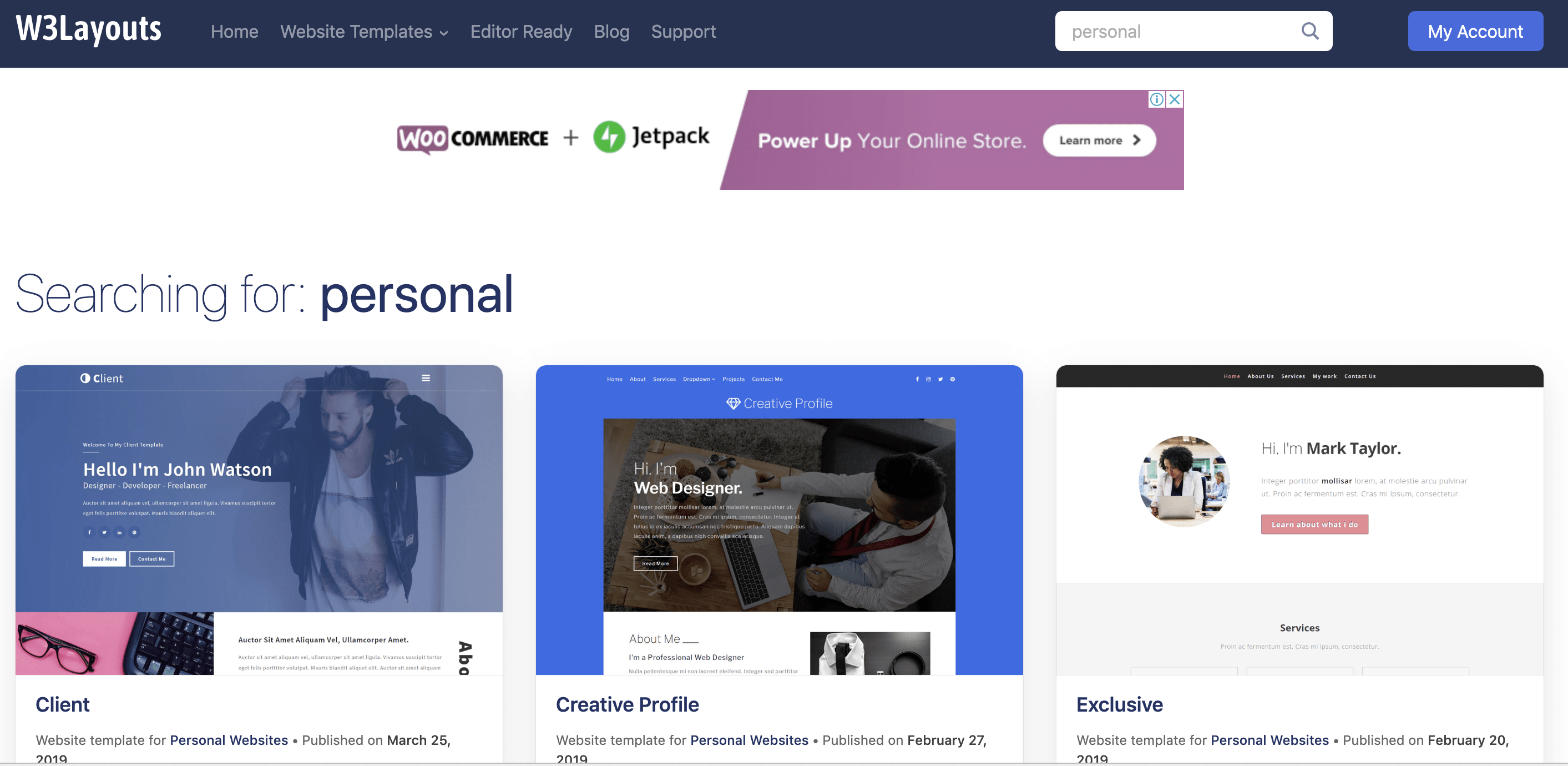 Personal Template Category Page