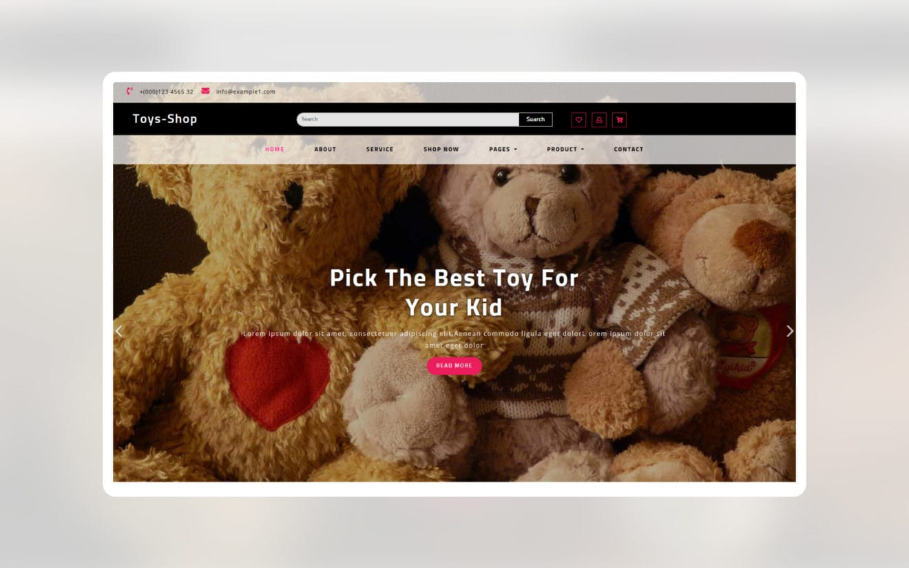 Toys shop ecommerce website template
