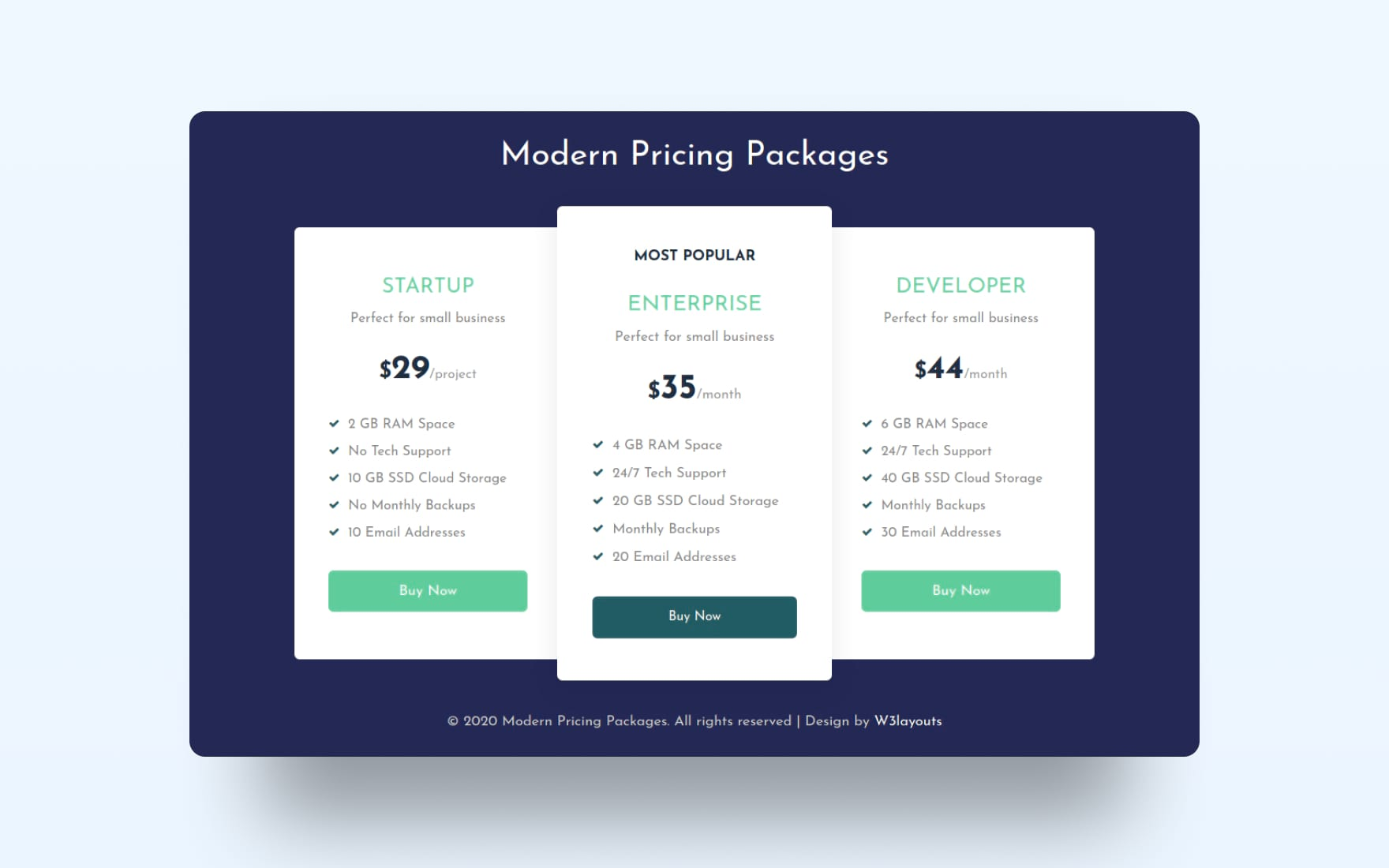 Modern Pricing Package Web Element