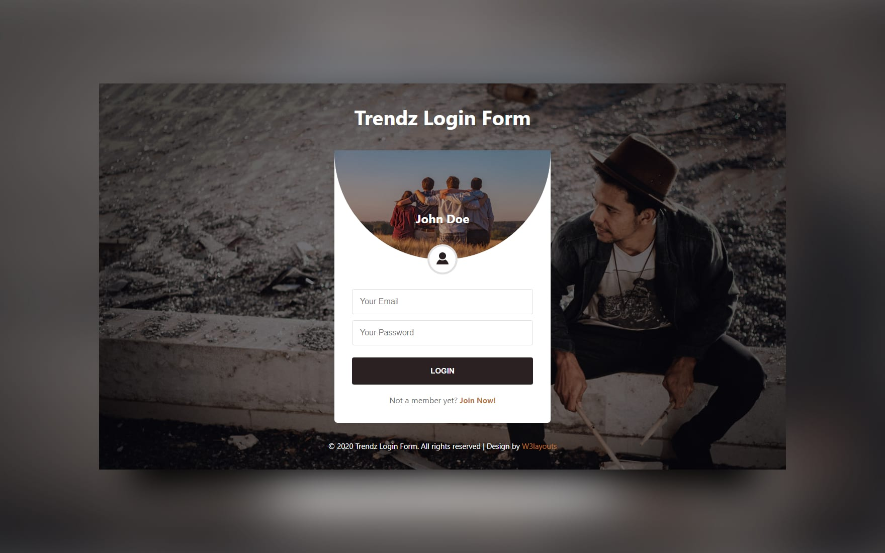 Trendz Login Form Web Element