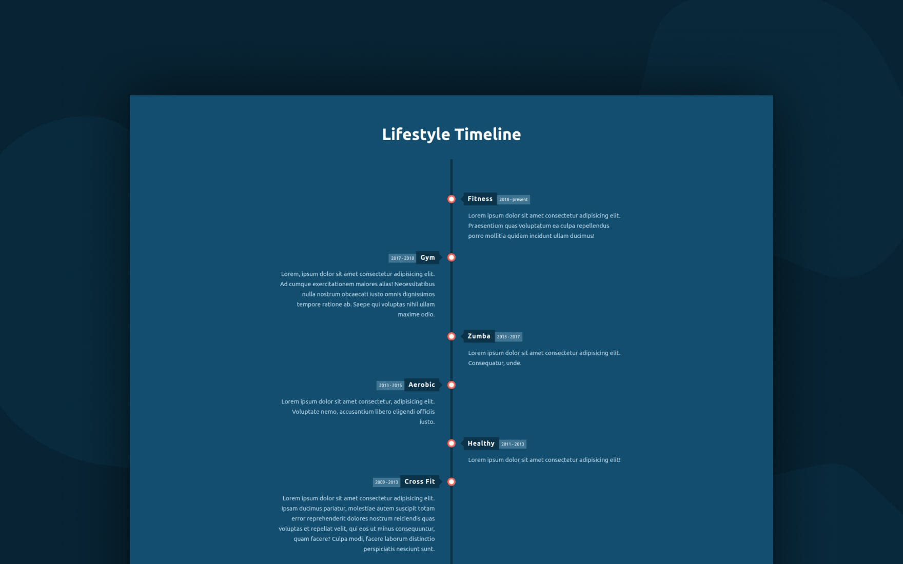 Lifestyle Timeline Web Element