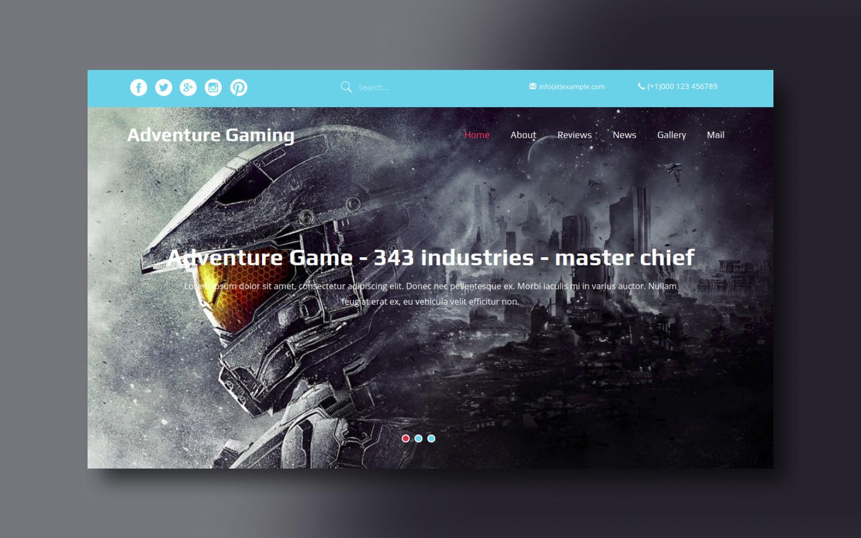 adventure gaming website template