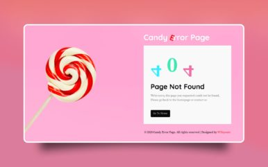 Candy Error Page Web Element