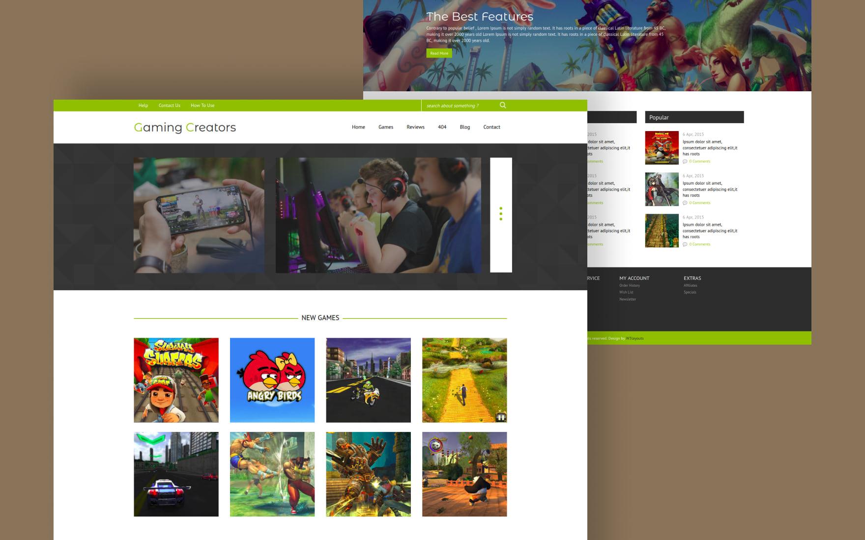gaming creators gaming website template