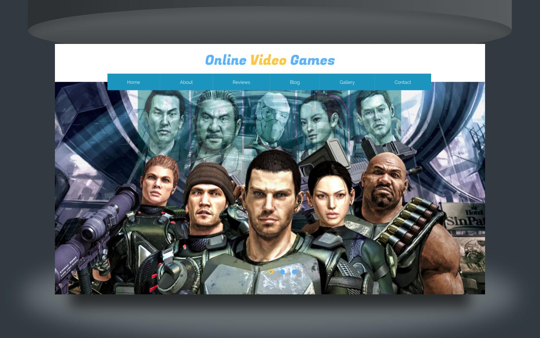 Online Video Game Website Template